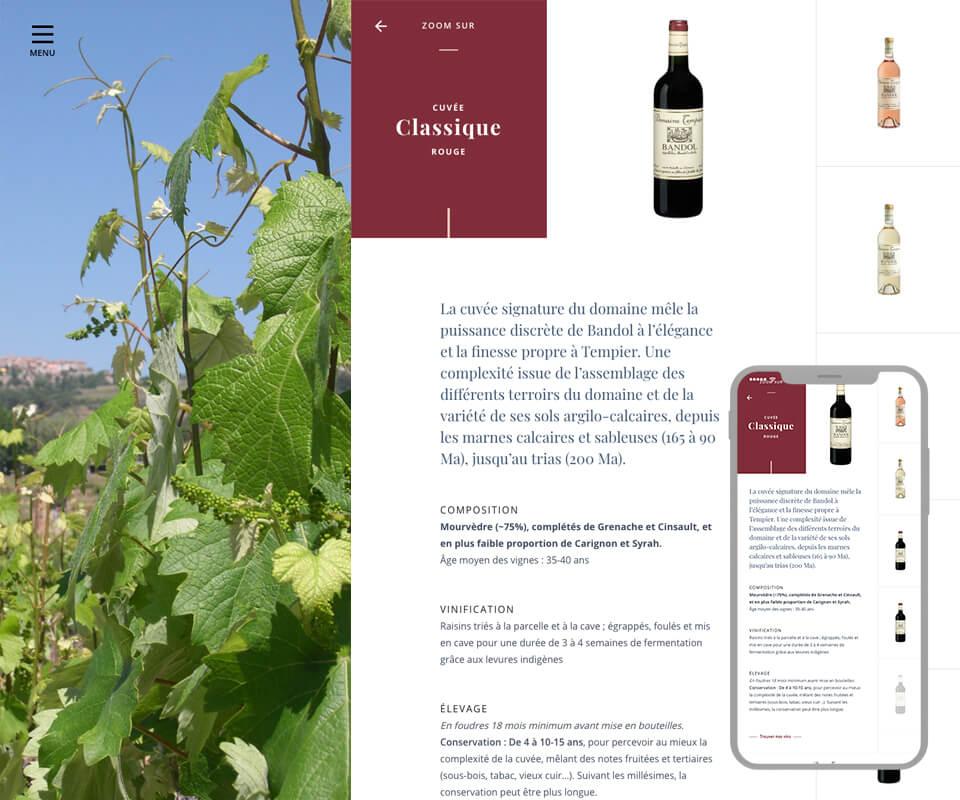 Site internet domaine viticole